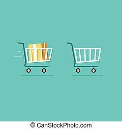 Lleno, compras, iconos, carrito,  vector, vacío