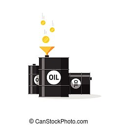 Oil barrels with funnel, gold coins falling to oil tanks,...