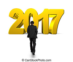 Man walking toward 2017 year, golden number, isolated on...
