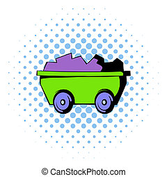 Trolley icon, comics style - Trolley with ore icon in comics...