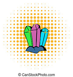 Crystals icon, comics style - Three crystals icon in comics...