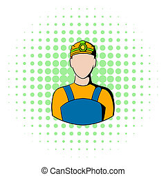 Coal miner icon, comics style - Coal miner icon in comics...
