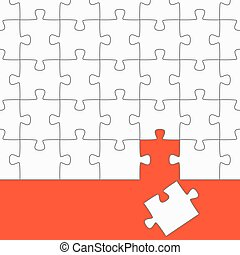 the wrong puzzle piece - white puzzle with red background...