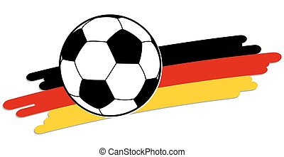 soccer ball with german national colors - black and white...