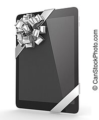 Black tablet with bow 3D rendering - Black tablet with...