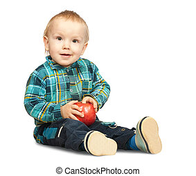 boy in  chequered shirt with apple