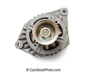 automotive alternator. Isolated on white with clipping path