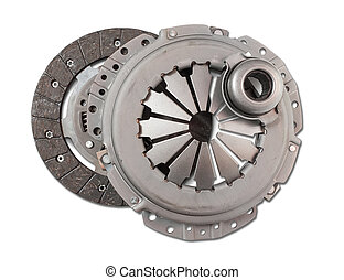 automotive part. automobile engine clutch. Isolated on white...