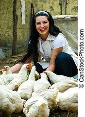 rir, mulher, alimentação, galinha