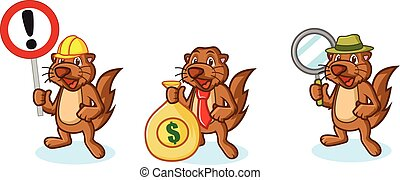 Brown Sea Otter Mascot with money, sign and magnifying