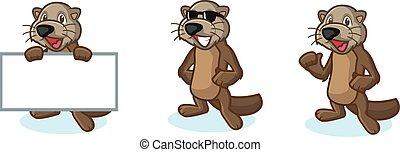 Dark Brown Sea Otter Mascot happy, pose and bring board