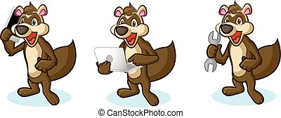 Brown Polecat Mascot with phone