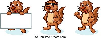 Brown Sea Otter Mascot happy, pose and bring boards