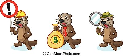 Dark Brown Sea Otter Mascot with money, and sign