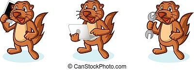 Brown Sea Otter Mascot with tools, laptop, phone