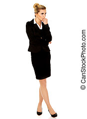 Young stressed business woman. - Young blonde stressed...