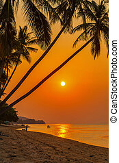 Sunset on the beach of Bang Por. Koh Samui, Thailand.