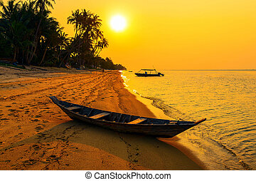 Sunset on the beach of Bang Por on Koh Samui in Thailand