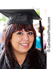 sonriente, escuela, graduado