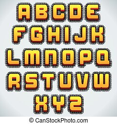 Stylized Retro Font. Vector