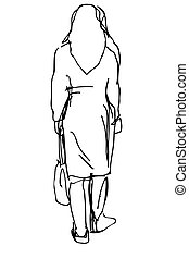 vector sketch of a woman with a bag of leaves