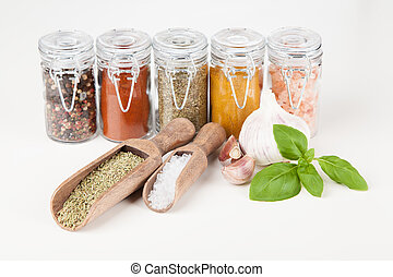 Set of different herbs and spice isolated on white...