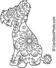 Chinese crested dog coloring antistress - Vector Chinese...