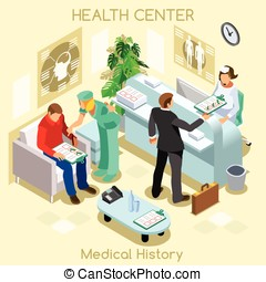 Clinic Wait Room Isometric People - Clinic patient medical...