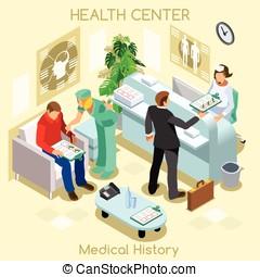 clínica, espera, habitación, Isométrico, gente