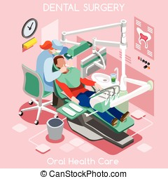 Dental Surgery Isometric People - Dental implant teeth...