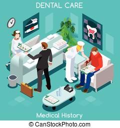 Dentista, espera, habitación, Isométrico, gente