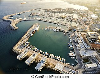 Aerial view of Limassol Old Port, Cyprus - Aerial view of...