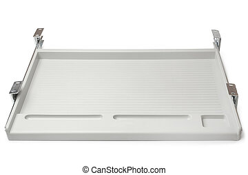 Under-desk keyboard drawer on white background