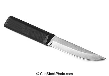 Hunting knife on white background