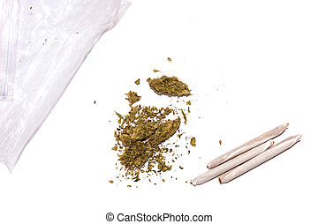 marijuana with joints and bag - pile of marijuana and joints...