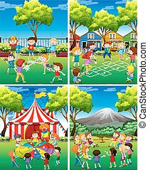 Four scene of children playing in the park illustration