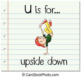 Flashcard letter U is for upside down illustration