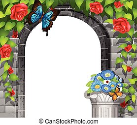 Scene with brickwall and roses illustration