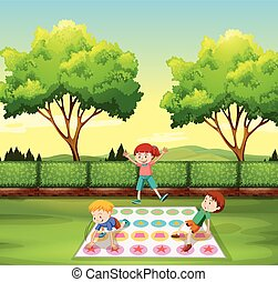Children playing twister in the park illustration