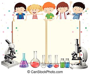 Children and science equipments illustration