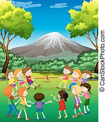 Children playing tug-o-war in the park illustration