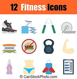 Flat design fitness icon set in ui colors Vector...