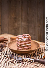Layered cakes with different cream