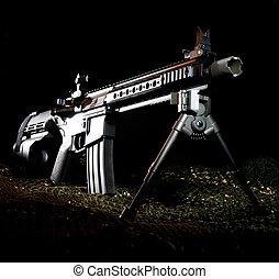 AR-15 pistol - Modern sporting rifle in a pistol on a dark...