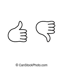 Thumb up icons. Vector illustration.