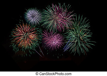 Red green purple lilac fireworks - Red, green, purple, lilac...