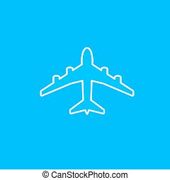 White paper plane icon isolated on blue