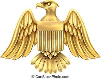 Golden American Eagle Shield - Gold metal American Eagle...