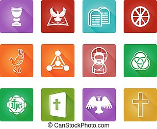 Christian Religion Icons - A set of Christian religious...
