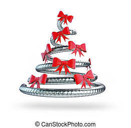metal Christmas tree 3D rendering, 3D illustration